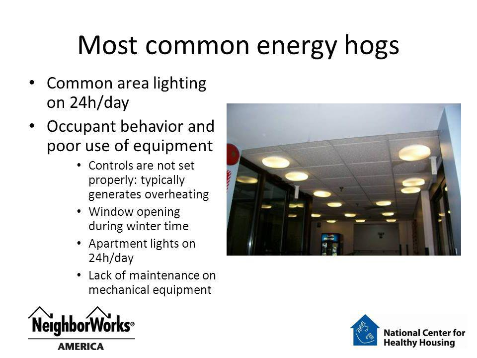 Most common energy hogs Common area lighting on 24h/day Occupant behavior and poor use of equipment Controls are not set properly: typically generates