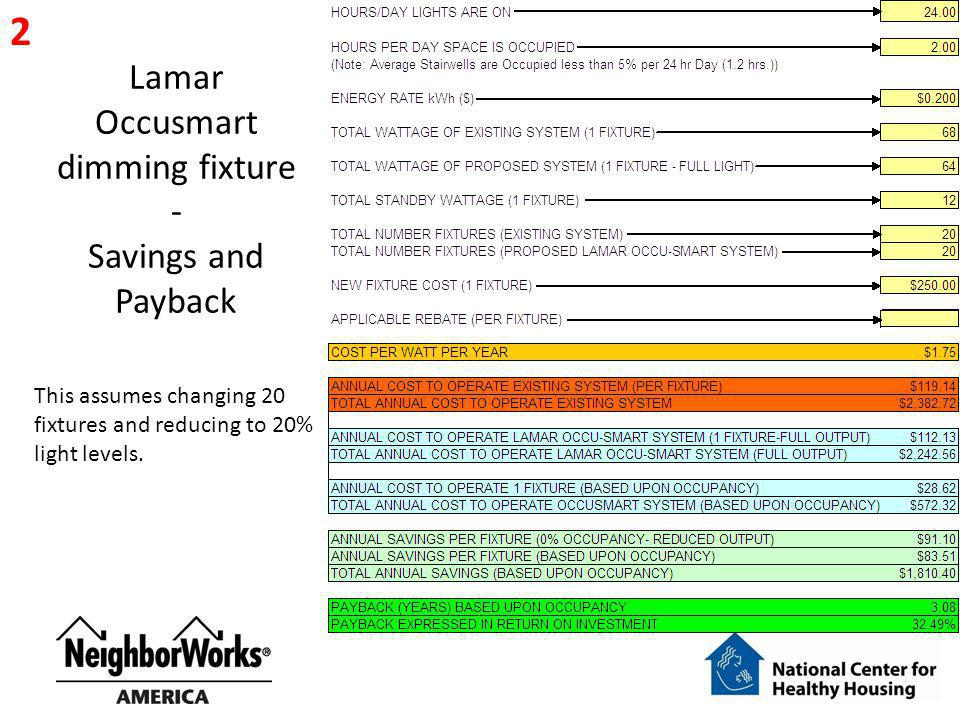 Lamar Occusmart dimming fixture - Savings and Payback 2 This assumes changing 20 fixtures and reducing to 20% light levels.