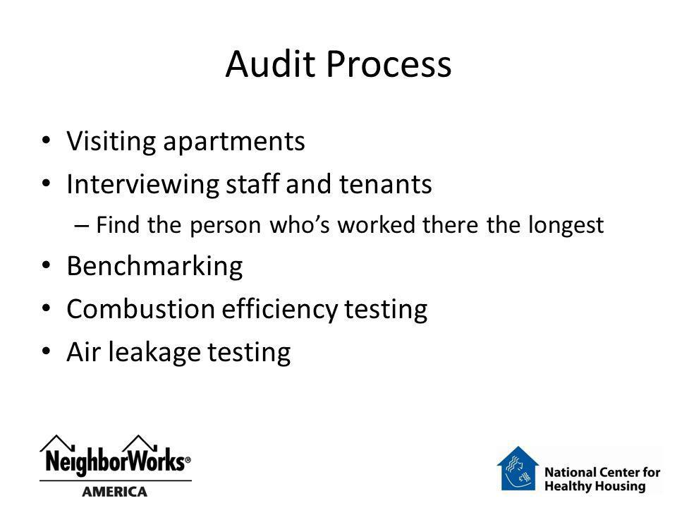 Audit Process Visiting apartments Interviewing staff and tenants – Find the person whos worked there the longest Benchmarking Combustion efficiency te