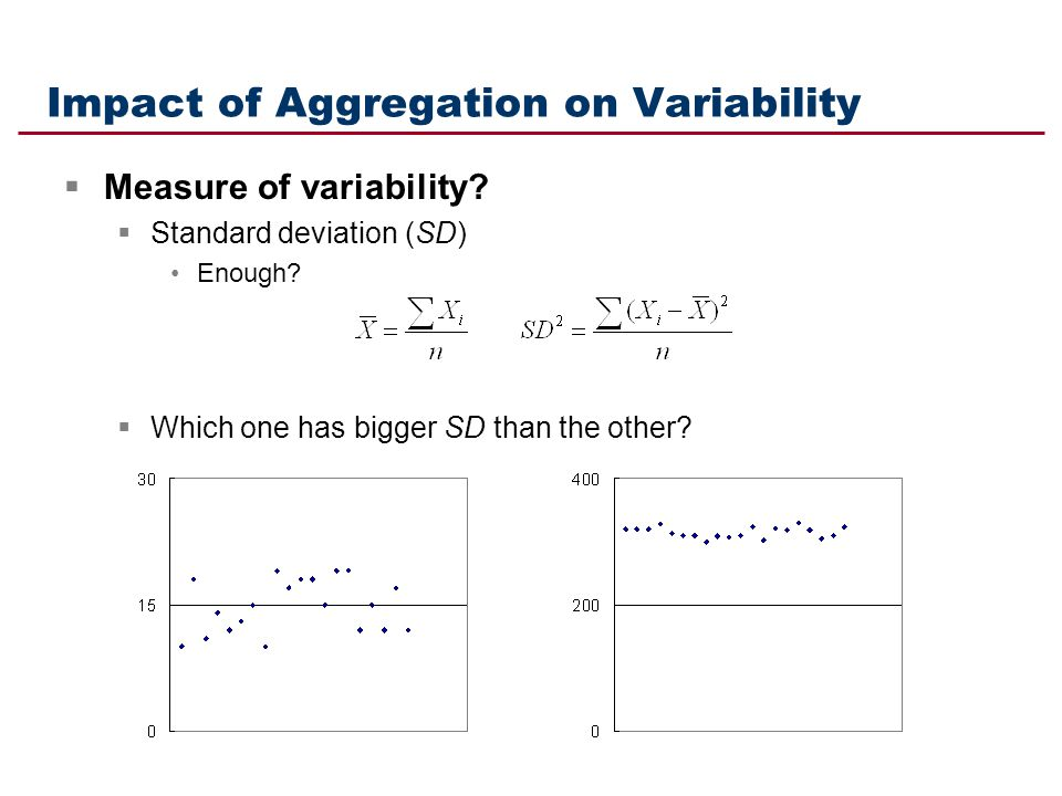 Impact of Aggregation on Variability Measure of variability? Standard deviation (SD) Enough? Which one has bigger SD than the other?