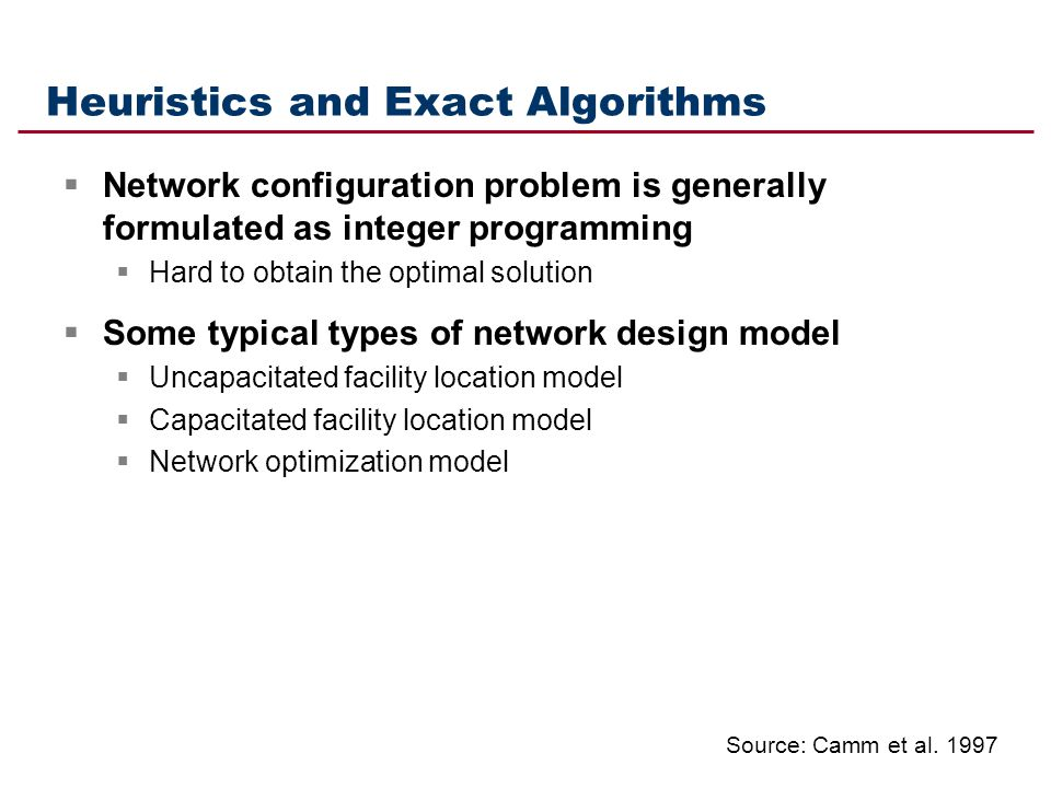 Heuristics and Exact Algorithms Network configuration problem is generally formulated as integer programming Hard to obtain the optimal solution Some