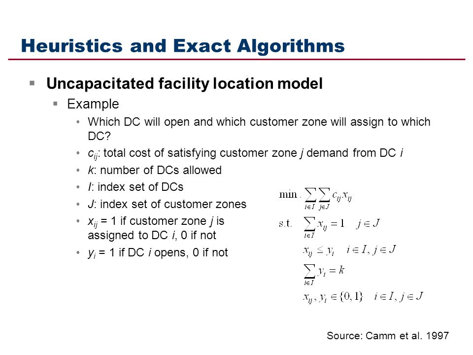 Heuristics and Exact Algorithms Uncapacitated facility location model Example Which DC will open and which customer zone will assign to which DC? c ij