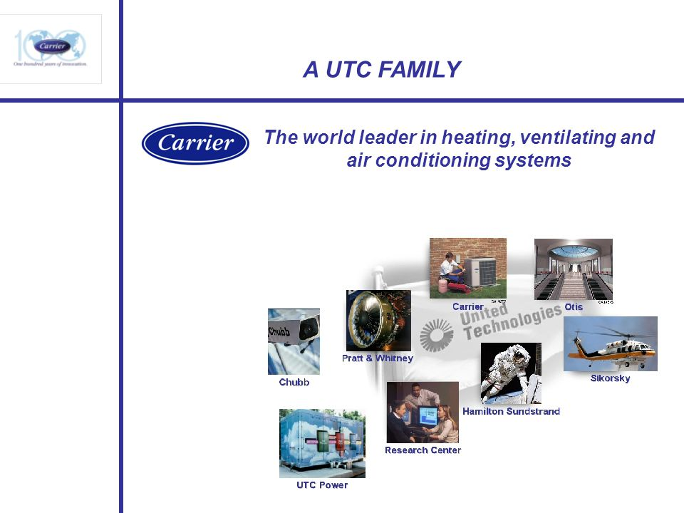 A UTC FAMILY The world leader in heating, ventilating and air conditioning systems
