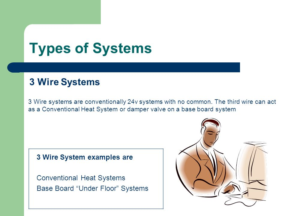 Types of Systems 3 Wire Systems 3 Wire systems are conventionally 24v systems with no common. The third wire can act as a Conventional Heat System or