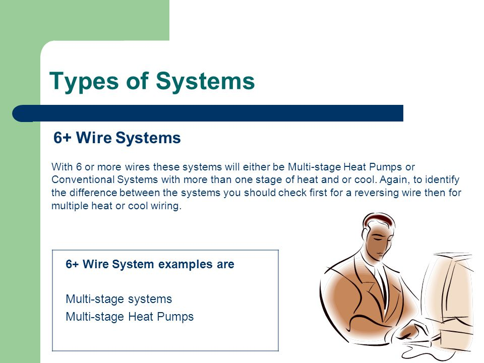 Types of Systems 6+ Wire Systems With 6 or more wires these systems will either be Multi-stage Heat Pumps or Conventional Systems with more than one s