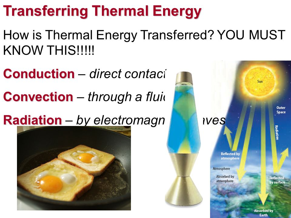 Transferring Thermal Energy How is Thermal Energy Transferred? YOU MUST KNOW THIS!!!!! Conduction Conduction – direct contact Convection Convection –