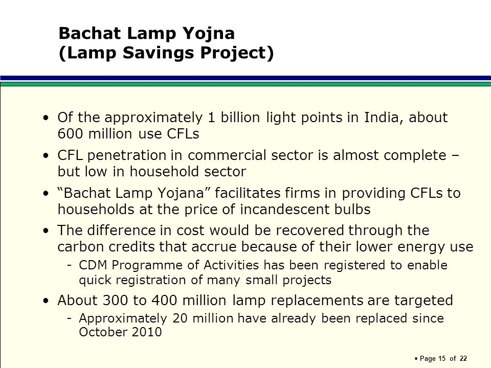 Page 15 of 22 Bachat Lamp Yojna (Lamp Savings Project) Of the approximately 1 billion light points in India, about 600 million use CFLs CFL penetratio
