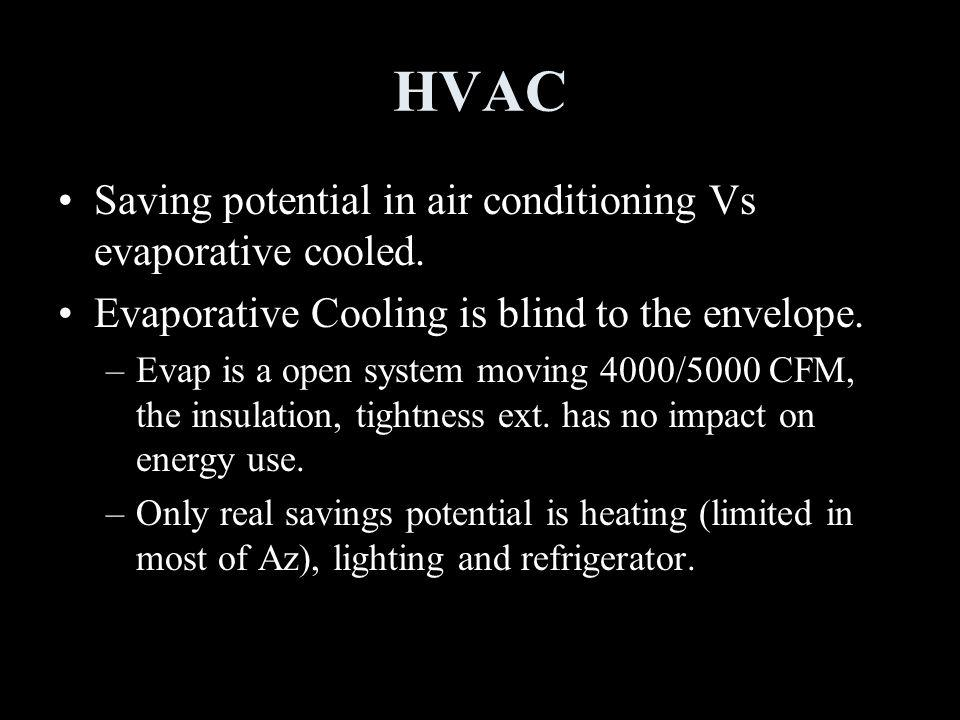 HVAC Saving potential in air conditioning Vs evaporative cooled.