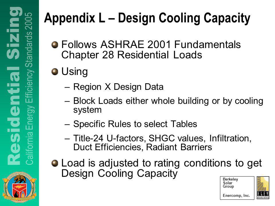 Berkeley Solar Group Enercomp, Inc. Appendix L – Design Cooling Capacity Follows ASHRAE 2001 Fundamentals Chapter 28 Residential Loads Using –Region X