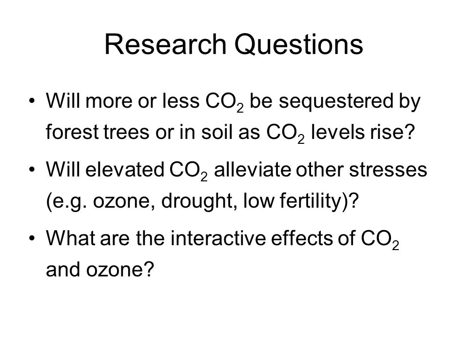 Research Questions Will more or less CO 2 be sequestered by forest trees or in soil as CO 2 levels rise.