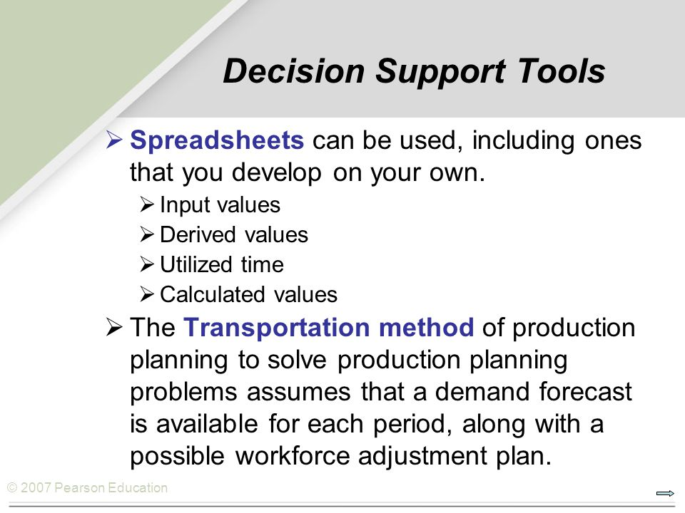 © 2007 Pearson Education Decision Support Tools Spreadsheets can be used, including ones that you develop on your own. Input values Derived values Uti