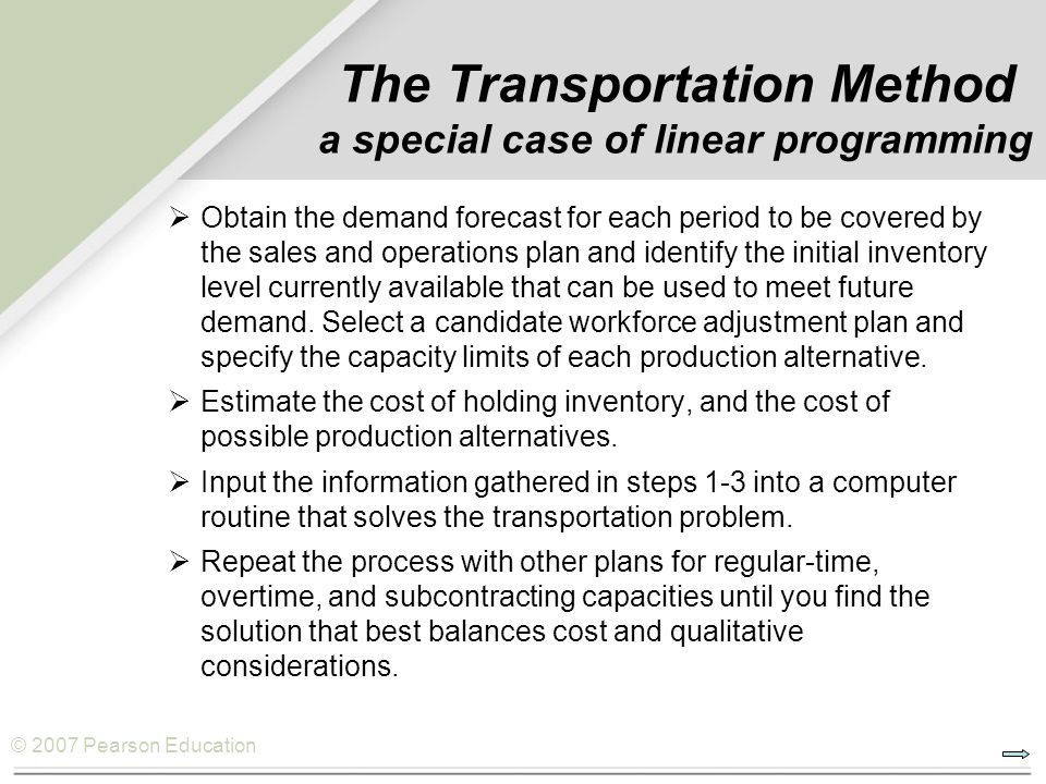 © 2007 Pearson Education The Transportation Method a special case of linear programming Obtain the demand forecast for each period to be covered by th