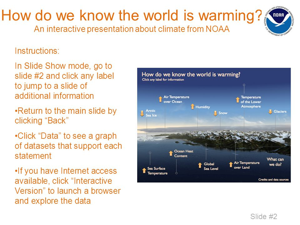 How do we know the world is warming? An interactive presentation about climate from NOAA Instructions: In Slide Show mode, go to slide #2 and click an