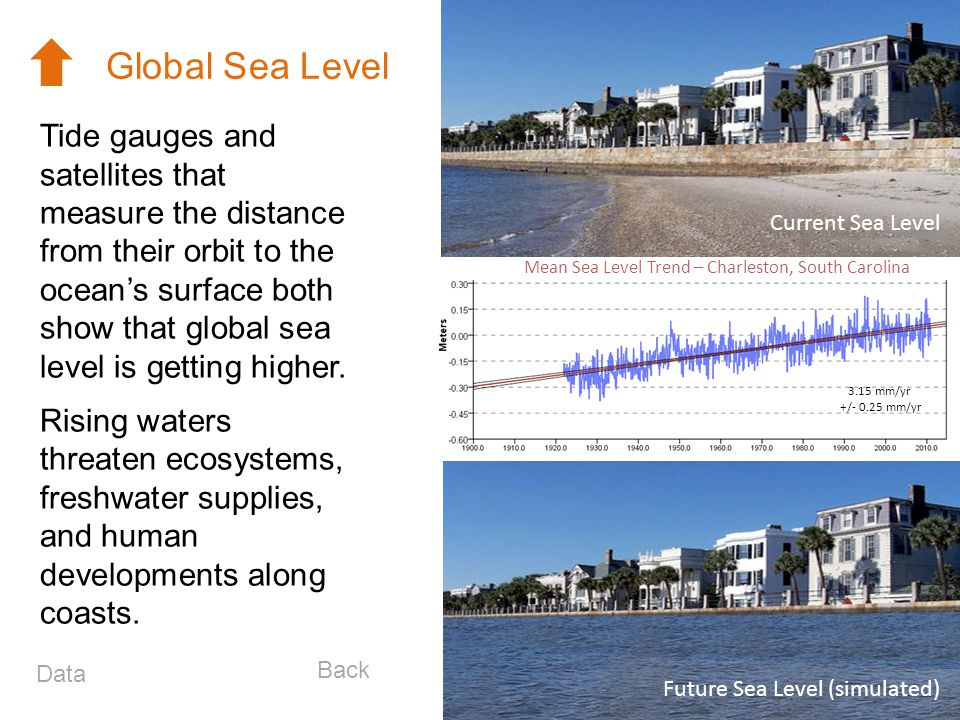 Tide gauges and satellites that measure the distance from their orbit to the oceans surface both show that global sea level is getting higher. Rising
