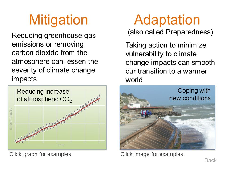 Click image for examplesClick graph for examples Back (also called Preparedness) Taking action to minimize vulnerability to climate change impacts can