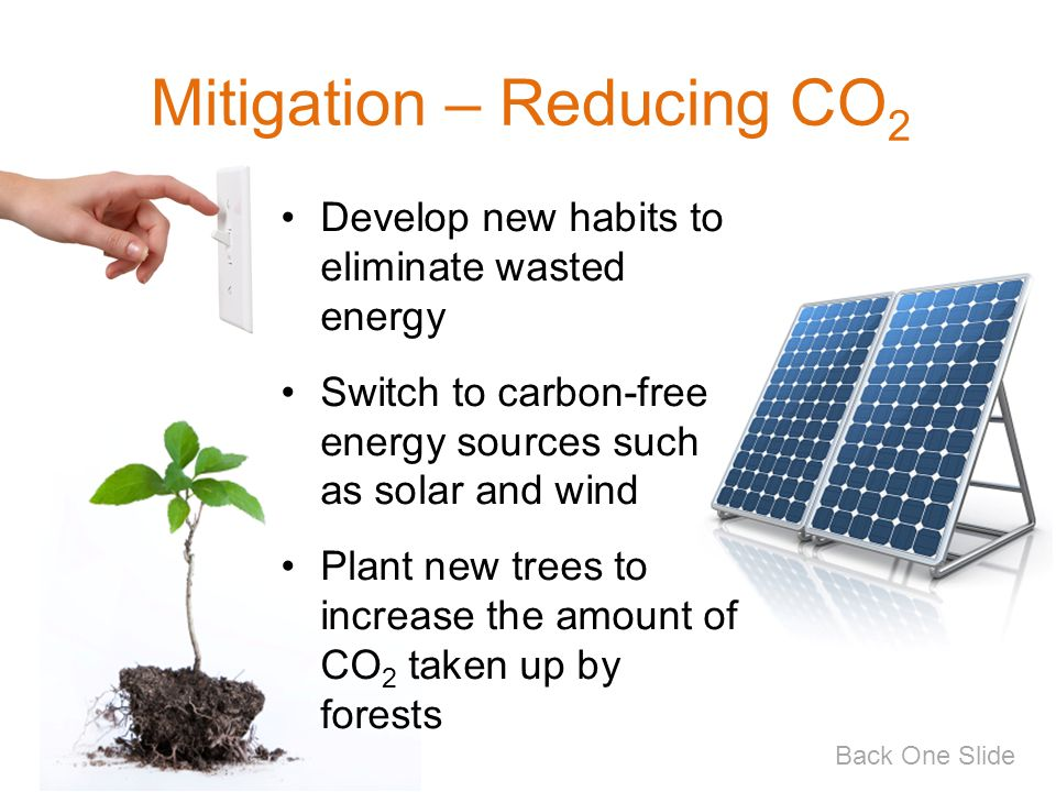 Mitigation – Reducing CO 2 Develop new habits to eliminate wasted energy Switch to carbon-free energy sources such as solar and wind Plant new trees t