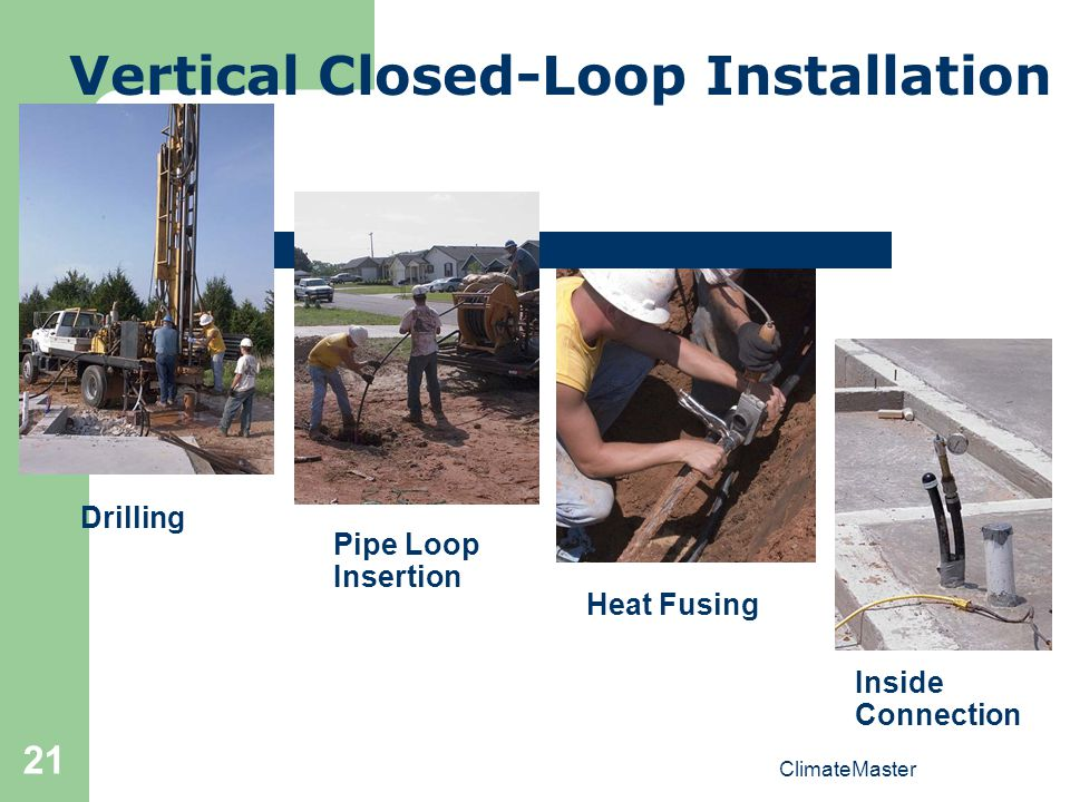 21 Vertical Closed-Loop Installation Drilling Pipe Loop Insertion Heat Fusing Inside Connection ClimateMaster