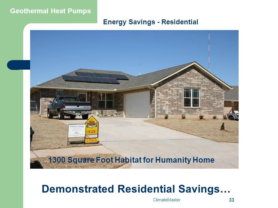 ClimateMaster 33 Geothermal Heat Pumps Demonstrated Residential Savings… 1300 Square Foot Habitat for Humanity Home Energy Savings - Residential