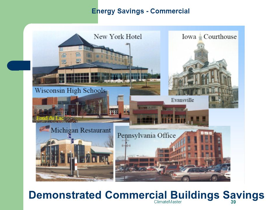 ClimateMaster 39 Energy Savings - Commercial Demonstrated Commercial Buildings Savings