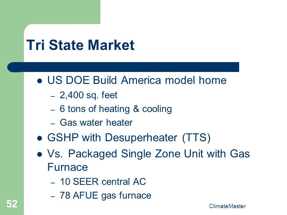 ClimateMaster 52 Tri State Market US DOE Build America model home – 2,400 sq.