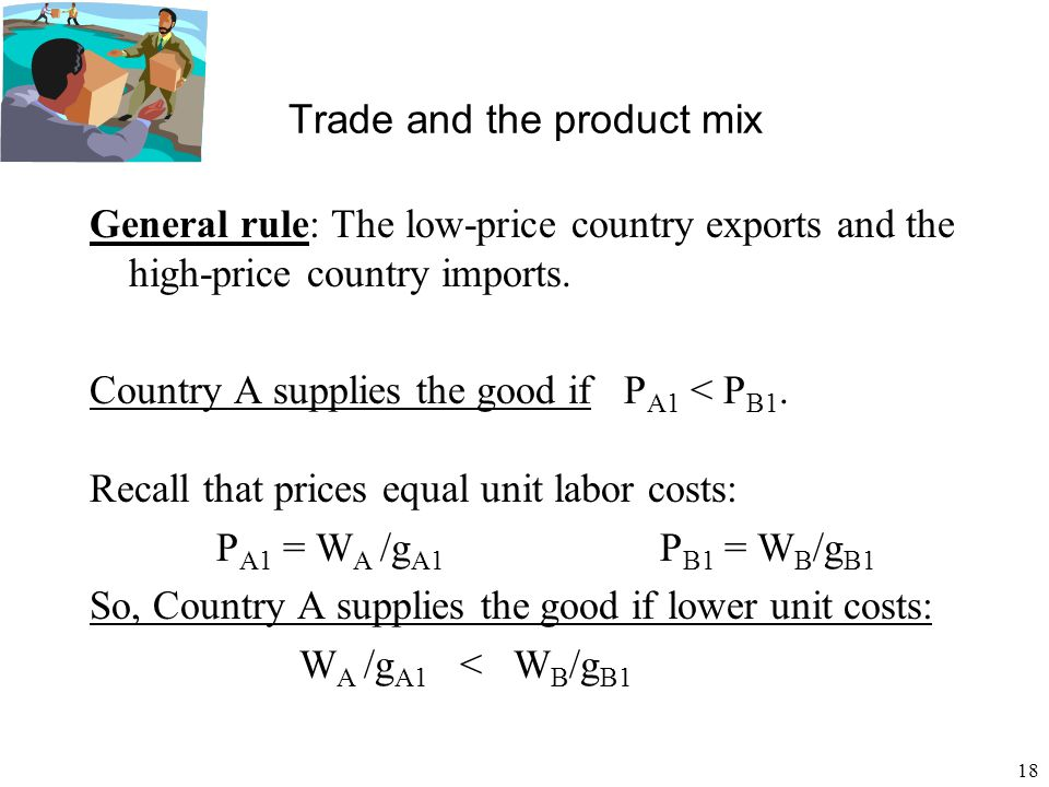 18 Trade and the product mix General rule: The low-price country exports and the high-price country imports. Country A supplies the good if P A1 < P B