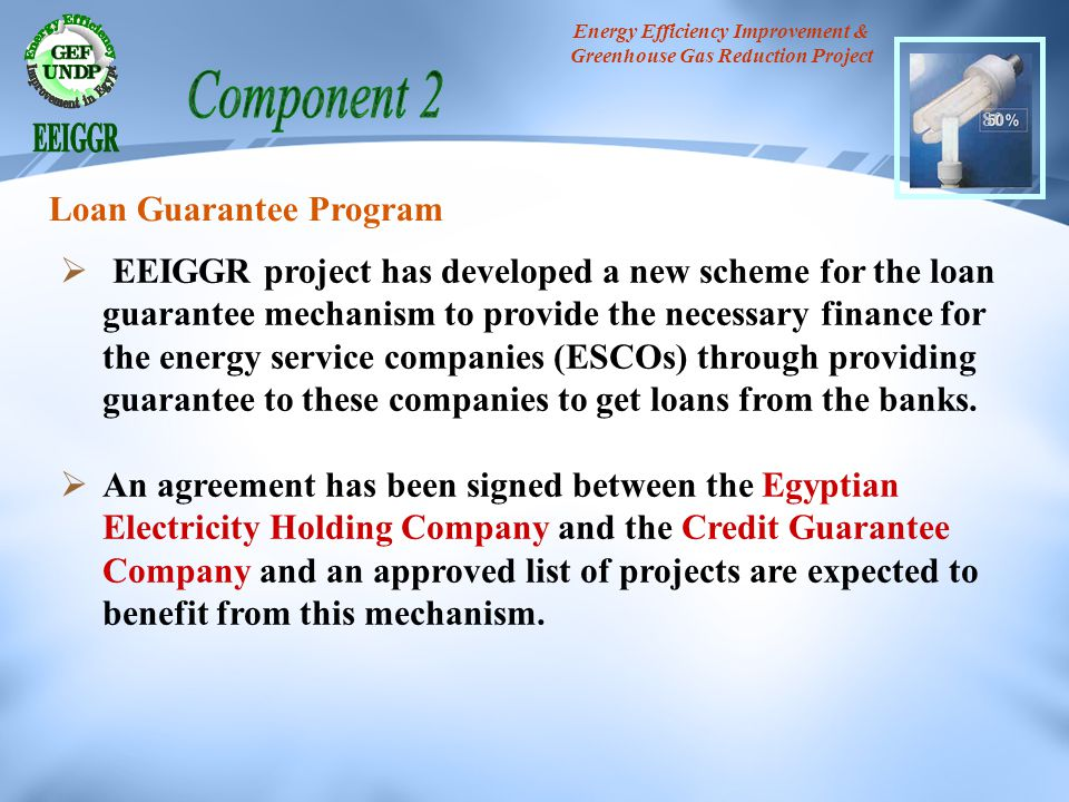 Energy Efficiency Improvement & Greenhouse Gas Reduction Project 80 EEIGGR project has developed a new scheme for the loan guarantee mechanism to prov
