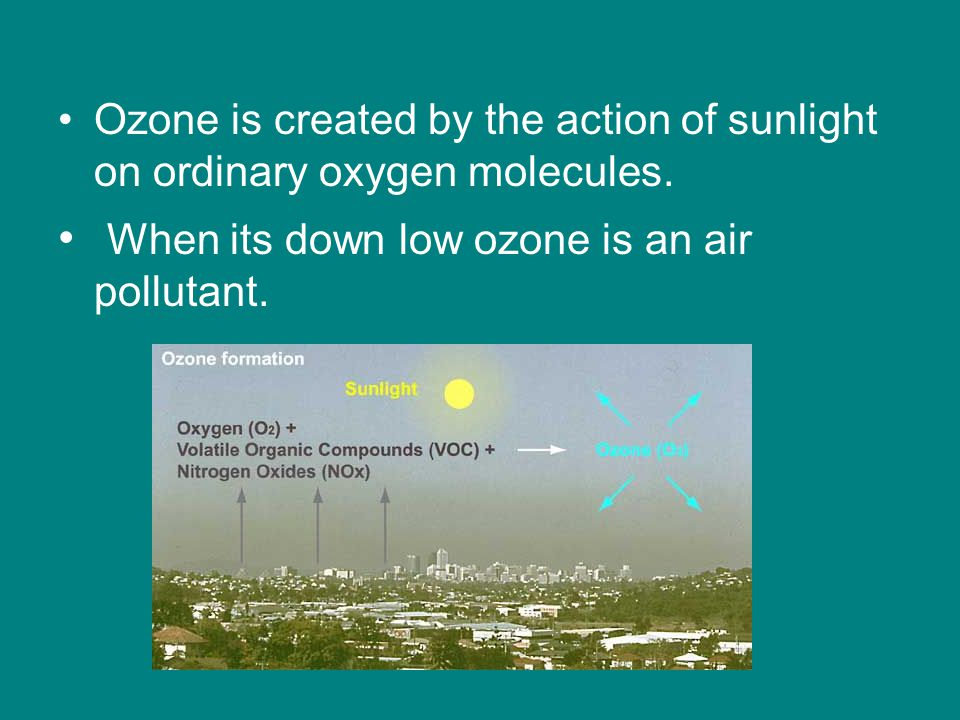 Ozone is created by the action of sunlight on ordinary oxygen molecules.