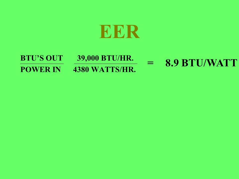 EER BTUS OUT 39,000 BTU/HR. POWER IN 4380 WATTS/HR. =8.9 BTU/WATT