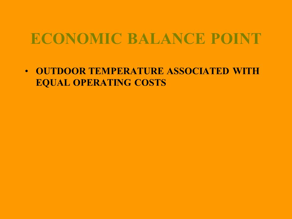ECONOMIC BALANCE POINT OUTDOOR TEMPERATURE ASSOCIATED WITH EQUAL OPERATING COSTS