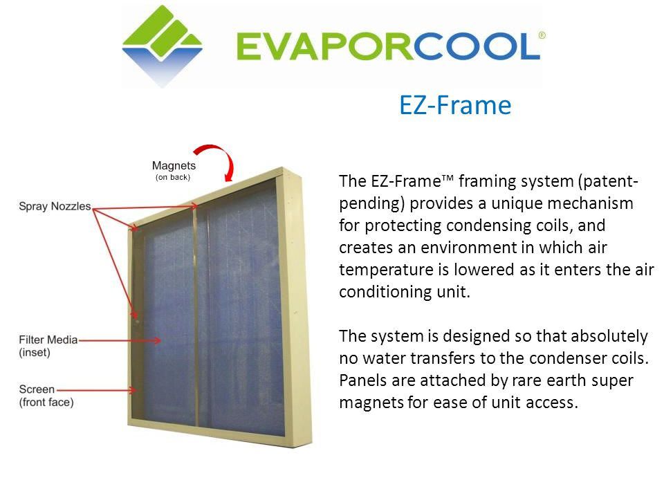 EZ-Frame The EZ-Frame framing system (patent- pending) provides a unique mechanism for protecting condensing coils, and creates an environment in whic