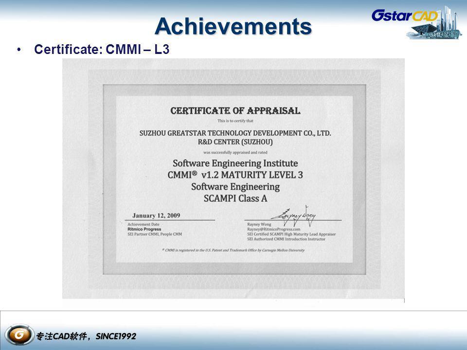 Achievements Certificate: CMMI – L3