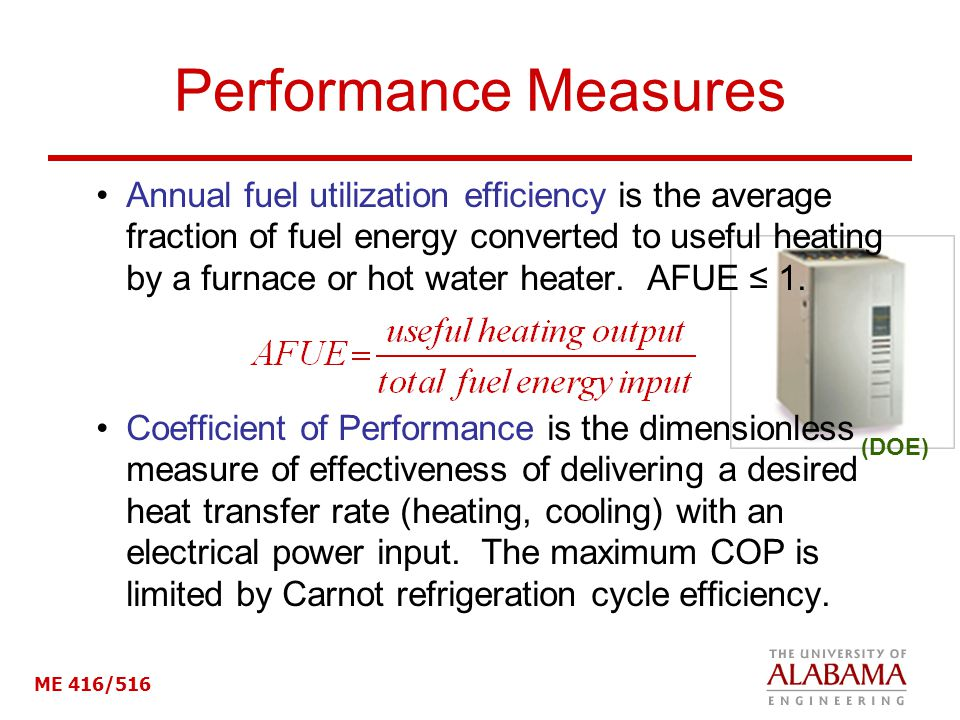 ME 416/516 Performance Measures Annual fuel utilization efficiency is the average fraction of fuel energy converted to useful heating by a furnace or hot water heater.
