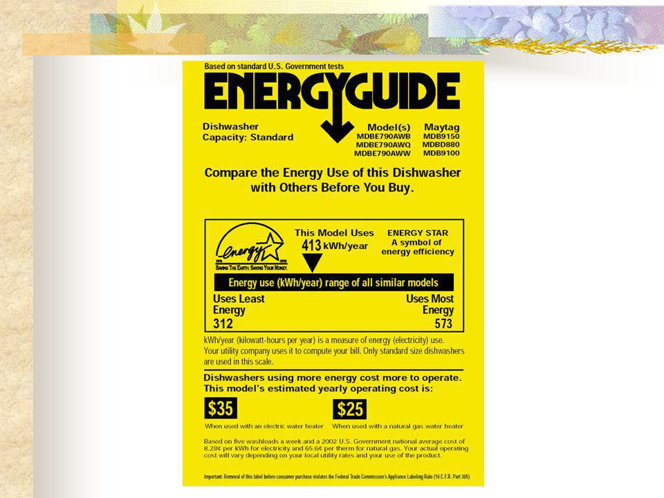 Energy Star Refrigerators Save $5.00 /yr Initial Investment $100 + Payback time 20 + yrs.