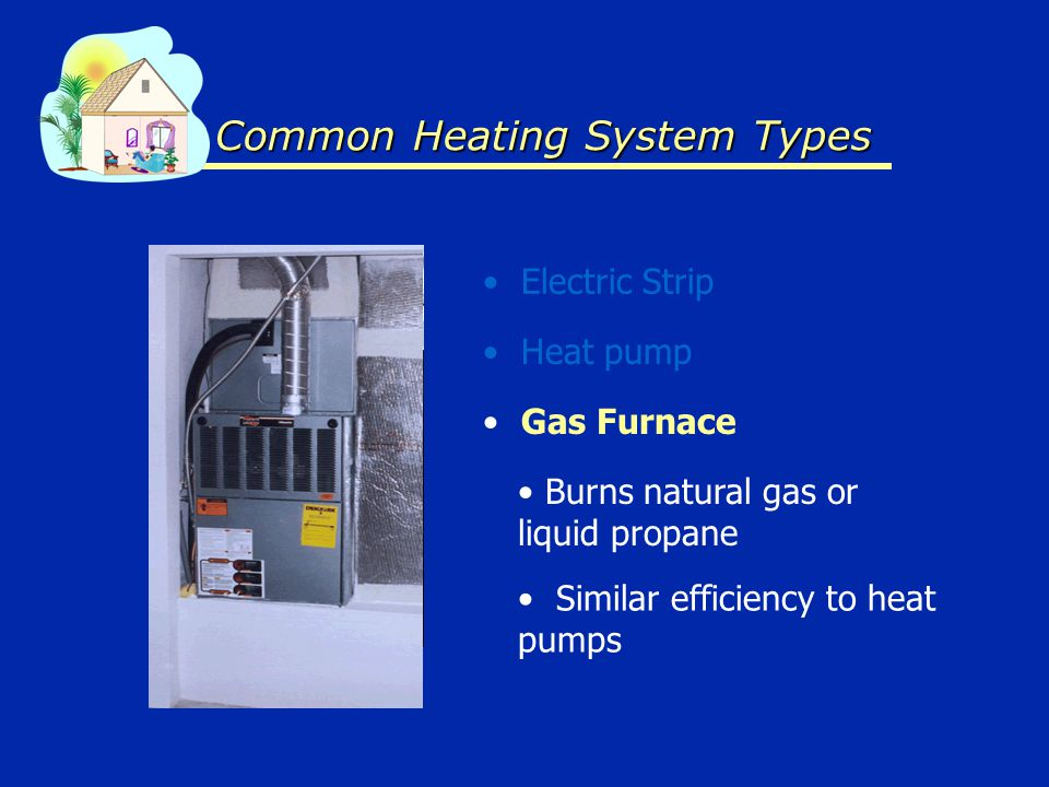 Common Heating System Types Electric Strip Gas Furnace Heat pump Similar efficiency to heat pumps Burns natural gas or liquid propane