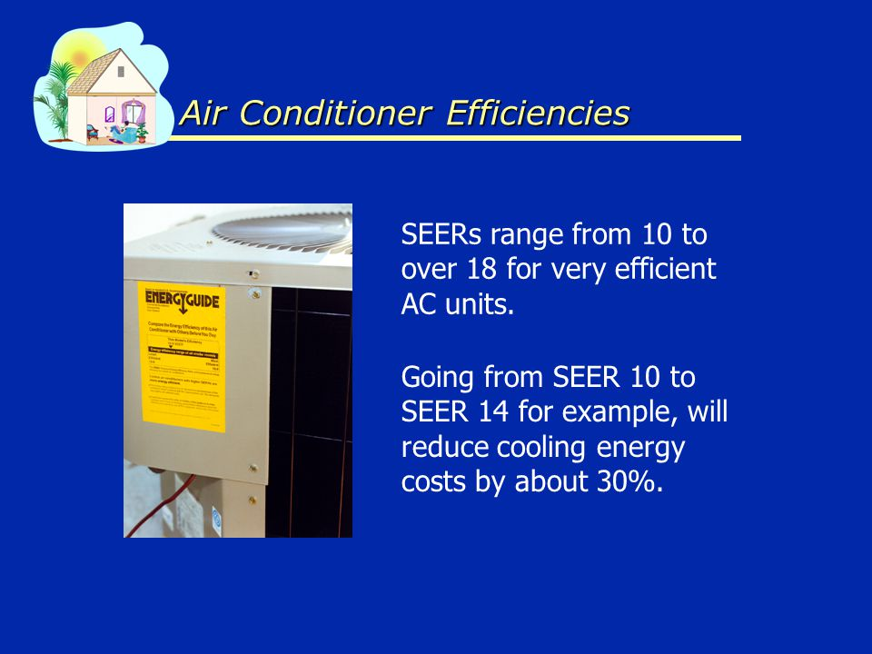 Air Conditioner Efficiencies SEERs range from 10 to over 18 for very efficient AC units. Going from SEER 10 to SEER 14 for example, will reduce coolin