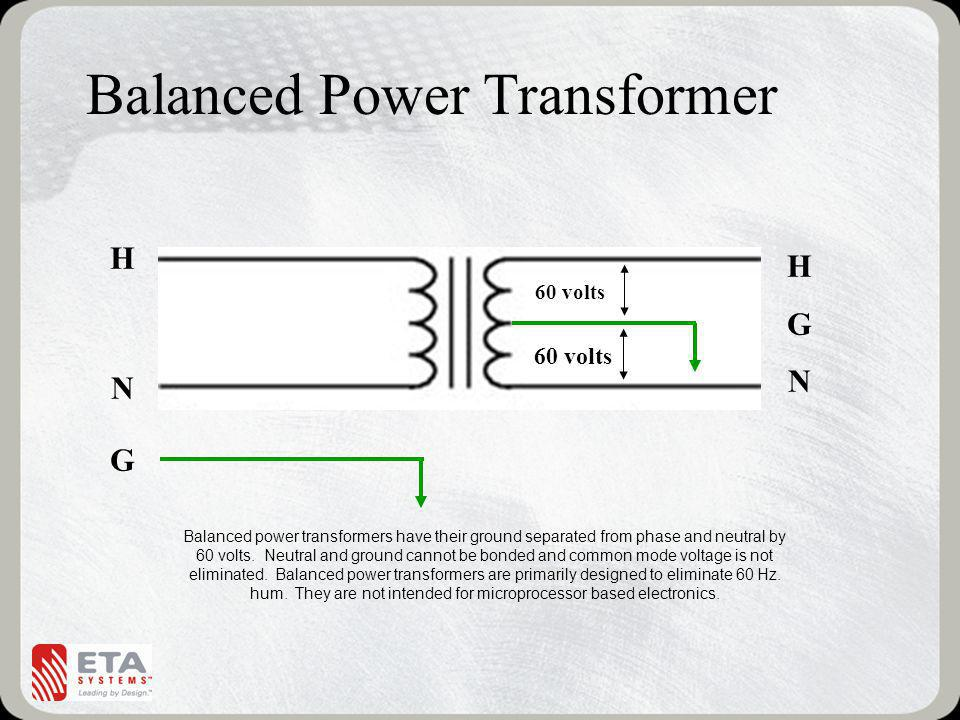 Balanced Power Transformer HGNHGN 60 volts Balanced power transformers have their ground separated from phase and neutral by 60 volts.