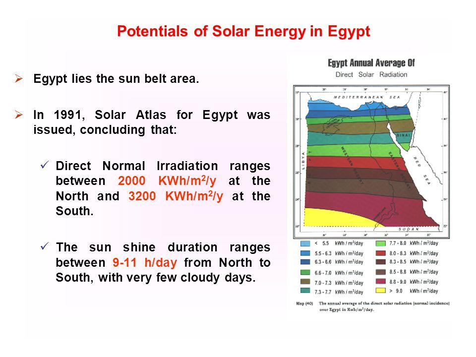 Egypt lies the sun belt area.