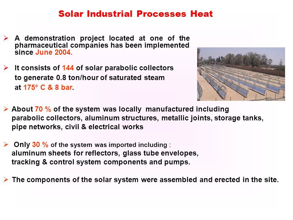 Solar Industrial Processes Heat A demonstration project located at one of the pharmaceutical companies has been implemented since June 2004.