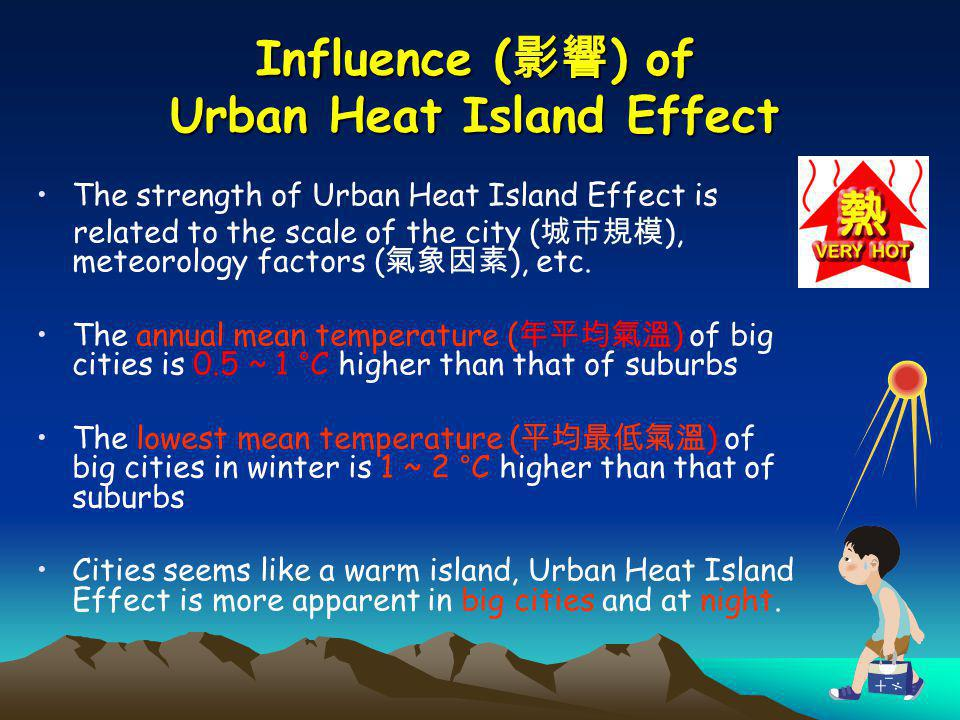 Influence ( ) of Urban Heat Island Effect The strength of Urban Heat Island Effect is related to the scale of the city ( ), meteorology factors ( ), e