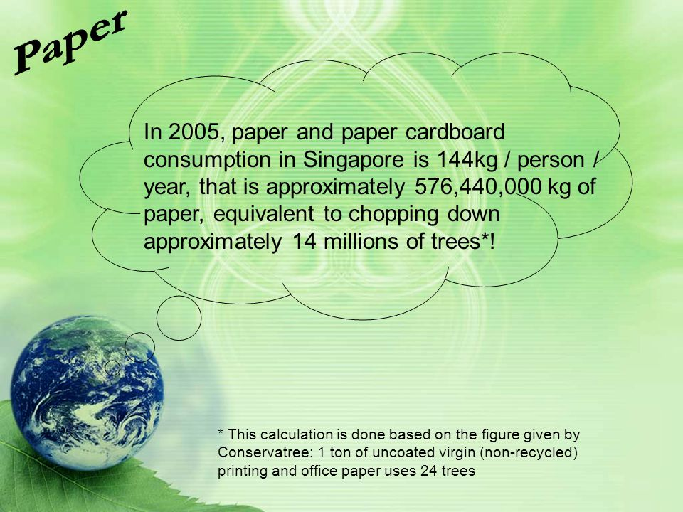 In 2005, paper and paper cardboard consumption in Singapore is 144kg / person / year, that is approximately 576,440,000 kg of paper, equivalent to cho