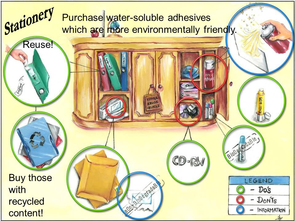 Reuse! Buy those with recycled content! Purchase water-soluble adhesives which are more environmentally friendly.
