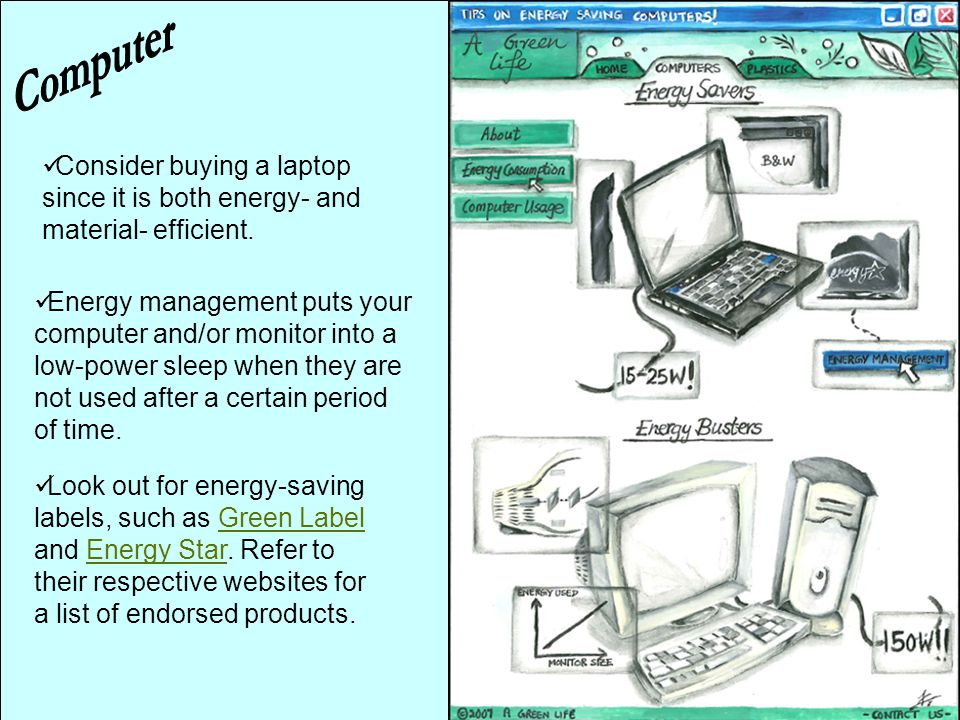 Energy management puts your computer and/or monitor into a low-power sleep when they are not used after a certain period of time. Consider buying a la