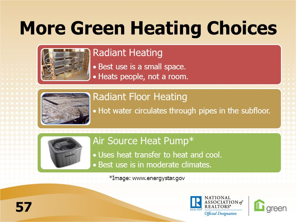 More Green Heating Choices Radiant Heating Best use is a small space. Heats people, not a room. Radiant Floor Heating Hot water circulates through pip