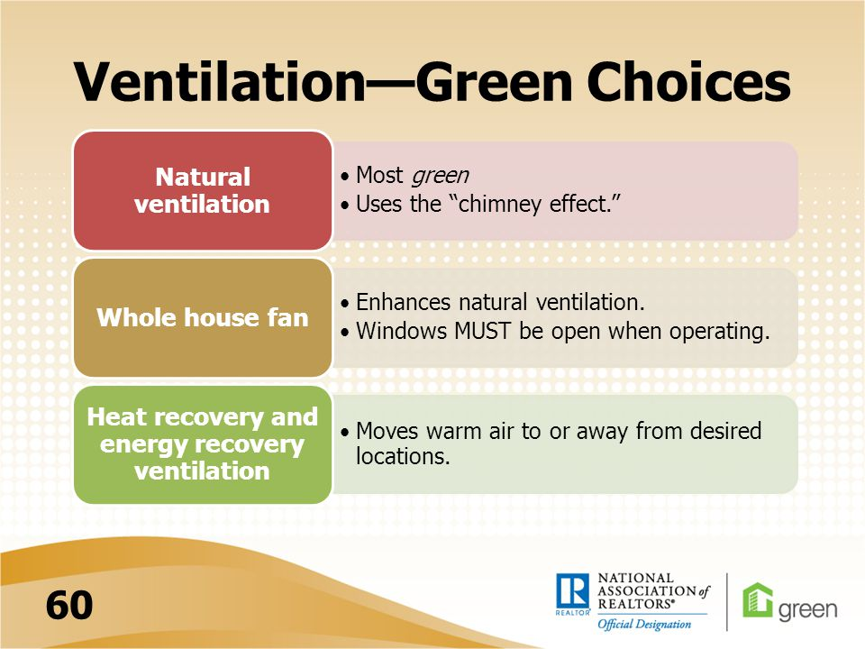 VentilationGreen Choices Most green Uses the chimney effect. Natural ventilation Enhances natural ventilation. Windows MUST be open when operating. Wh