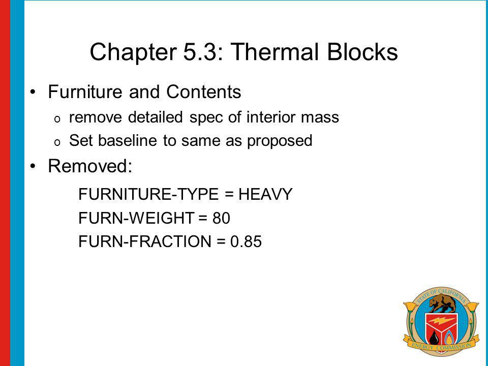 Chapter 5.3: Thermal Blocks Furniture and Contents o remove detailed spec of interior mass o Set baseline to same as proposed Removed: FURNITURE-TYPE = HEAVY FURN-WEIGHT = 80 FURN-FRACTION = 0.85