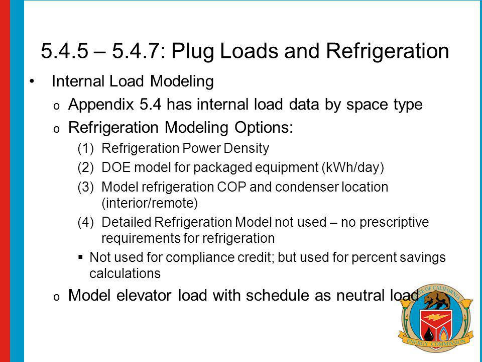 5.4.5 – 5.4.7: Plug Loads and Refrigeration Internal Load Modeling o Appendix 5.4 has internal load data by space type o Refrigeration Modeling Options: (1)Refrigeration Power Density (2)DOE model for packaged equipment (kWh/day) (3)Model refrigeration COP and condenser location (interior/remote) (4)Detailed Refrigeration Model not used – no prescriptive requirements for refrigeration Not used for compliance credit; but used for percent savings calculations o Model elevator load with schedule as neutral load