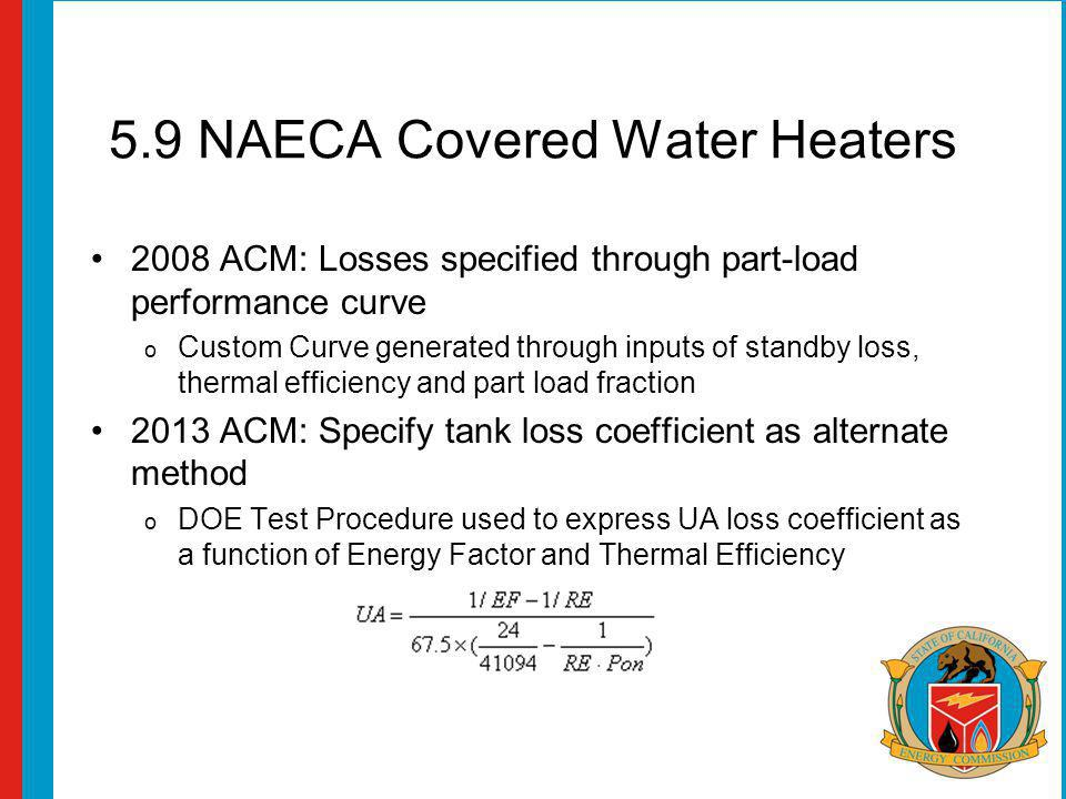5.9 NAECA Covered Water Heaters 2008 ACM: Losses specified through part-load performance curve o Custom Curve generated through inputs of standby loss