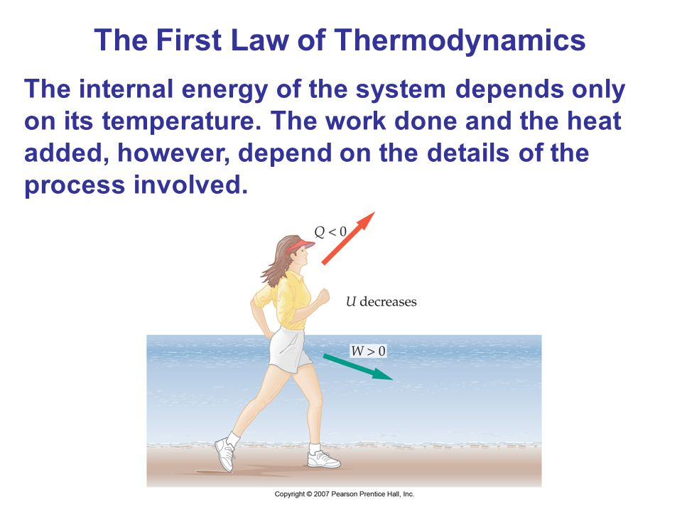 The First Law of Thermodynamics The internal energy of the system depends only on its temperature. The work done and the heat added, however, depend o