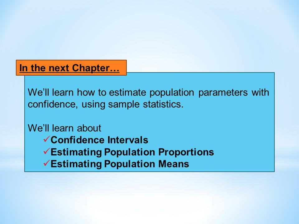 Well learn how to estimate population parameters with confidence, using sample statistics. Well learn about Confidence Intervals Estimating Population