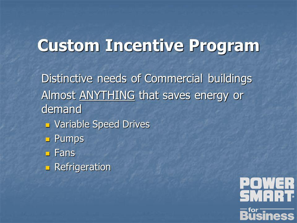 Custom Incentive Program Distinctive needs of Commercial buildings Almost ANYTHING that saves energy or demand Variable Speed Drives Variable Speed Drives Pumps Pumps Fans Fans Refrigeration Refrigeration